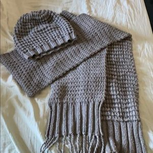 Grey beanie and matching scarf